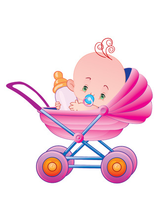 The child with milk in a carriage Illustration