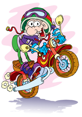 The cheerful odd fellow on a motorcycle