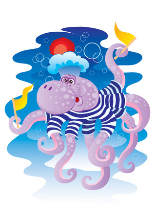 Cheerful childrens octopus with tags Illustration