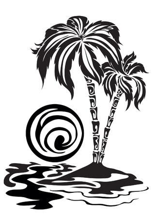 Silhouette of a palm tree growing on island Illustration