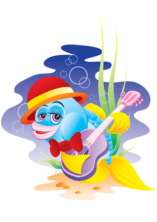 The cheerful small fish plays on a guitar Illustration