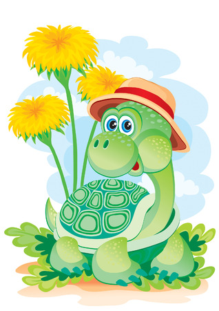 The turtle creeps among dandelions