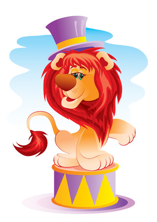 The trained lion acts in circus Illustration