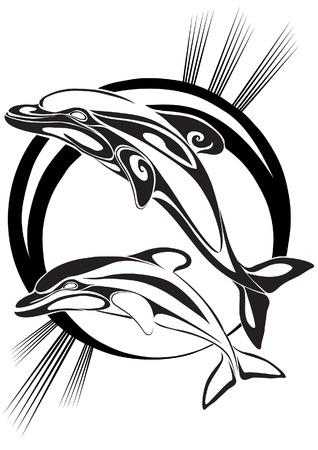Pair dolphins in sea depth Illustration
