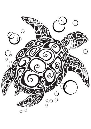 The turtle floats in depth of the sea Vector