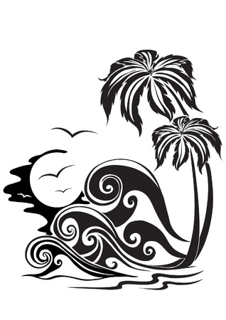 Two palm trees on a background of storming waves Vector