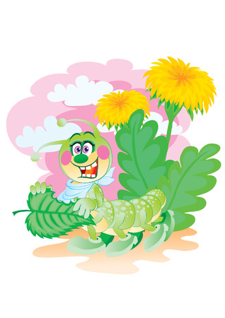 The cheerful caterpillar has dinner among dandelions Stock Vector - 2189472