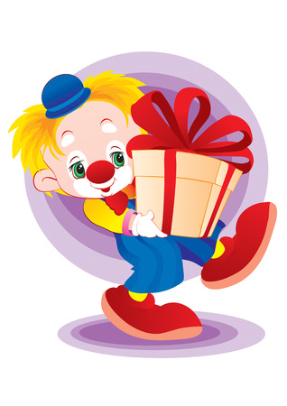 The clown bears the big gift in hands Vector