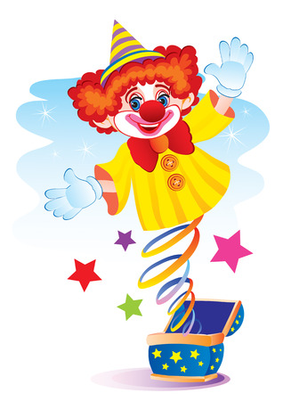 The clown jumps out on a spring from a box Vector