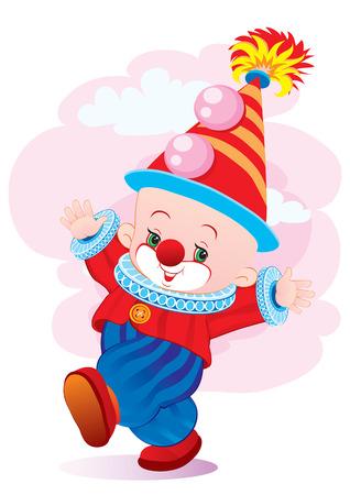 The cheerful clown in a cap dances Stock Vector - 2189476