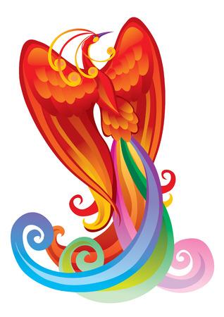 Magic bird with multi-coloured feathers