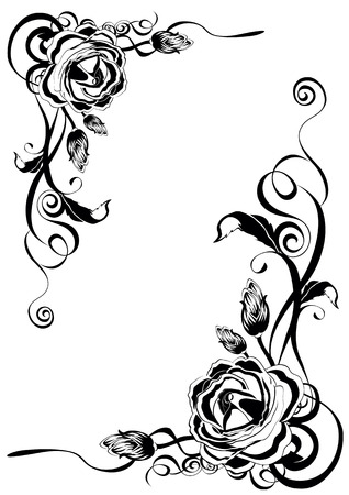 Ornament from roses in black color Illustration