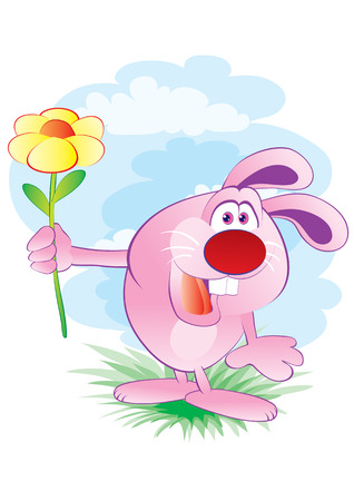 The pink hare gives a flower Stock Vector - 2527161