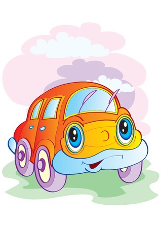 The cheerful alive car goes on road Illustration