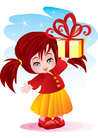 The little girl gives the big gift Stock Vector - 2527165