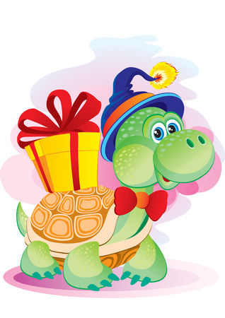 The small turtle bears a box with a bow Vector