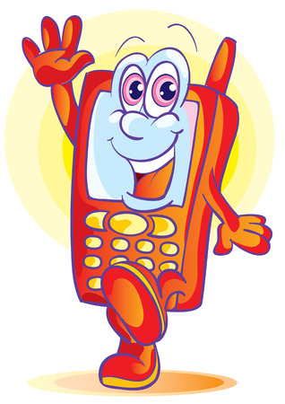 The cellular telephone sends a greeting