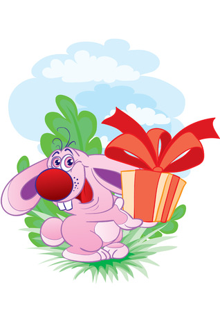 The ridiculous hare gives a gift Stock Vector - 2587283