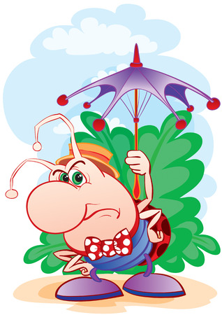 Ridiculous small insect with a ridiculous umbrella Stock Vector - 2587291