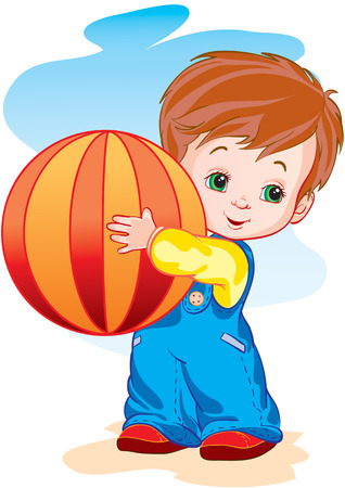 The child holds the big ball in hands