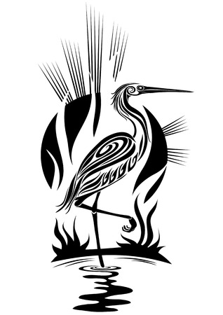Silhouette of a lonely heron on a bog Vector