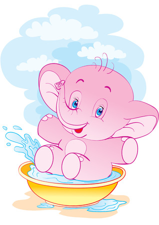 The elephant laps in a basin with water Stock Vector - 2955483