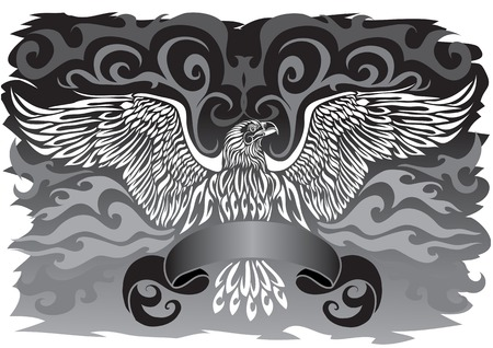 Black-and-white emblem of an eagle with a tape Vector
