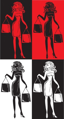 Women with bags make purchases Vector