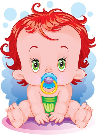 The surprised baby with a dummy Stock Vector - 3160067