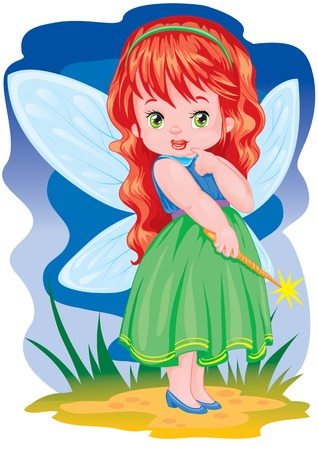 The small magician with wings on a back Illustration