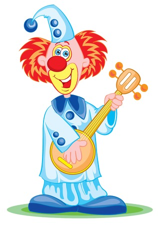 The cheerful clown appears on stage Vector