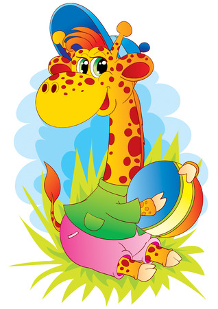 The small giraffe plays with a big ball Stock Vector - 3707682