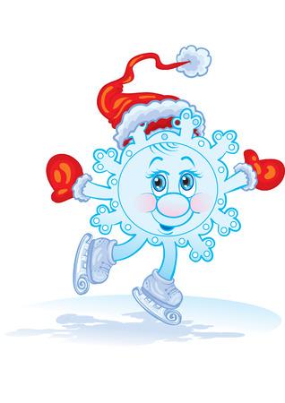The snowflake dances on skates Vector