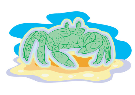 The sea crab of green color Vector