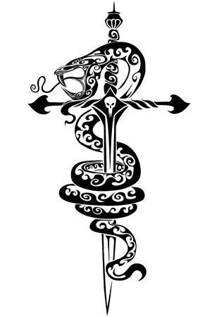 The traced dagger with the snake
