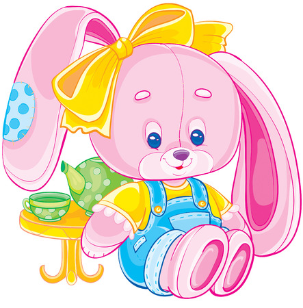toy pink rabbit with a patch