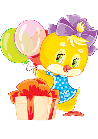 little chicken with gifts and balloons Stock Vector - 5741120