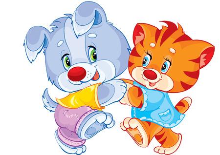 Dog and cat dancing together Illustration