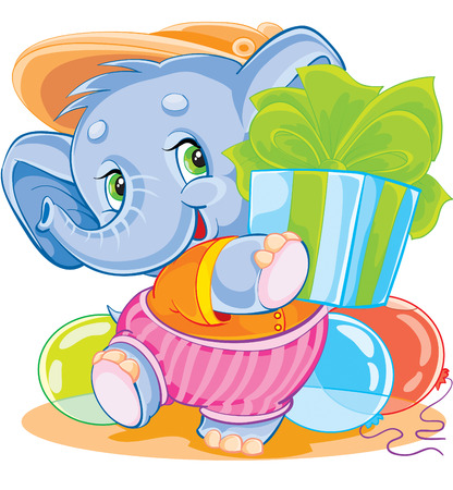 small toy elephant with a great gift