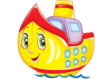 small toy boat with eyes Stock Vector - 5741108