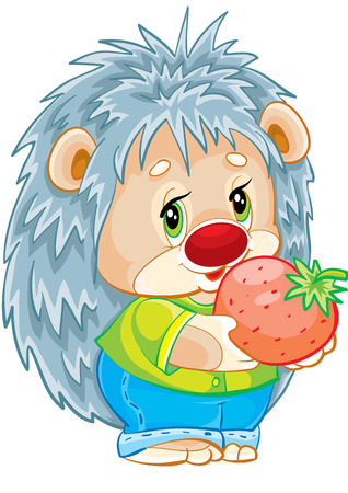 the little hedgehog holding in the hands of red berries Vector