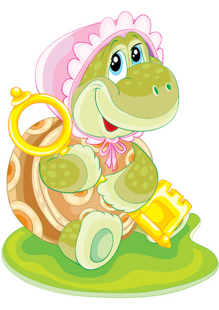 sweet turtle with the key in the paws Vector