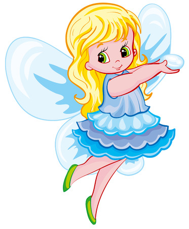fairy with wings holding a magic wand Illustration