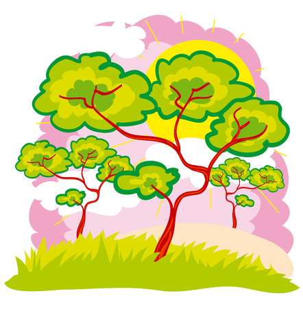 trees in the background of pink heaven Stock Vector - 7078040