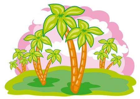 many palms in the desert Stock Vector - 7078038