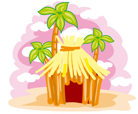 thatched hut on the background of palm trees Stock Vector - 7116256