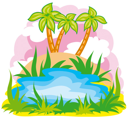 small lake on the background of palm trees Stock Vector - 7116263