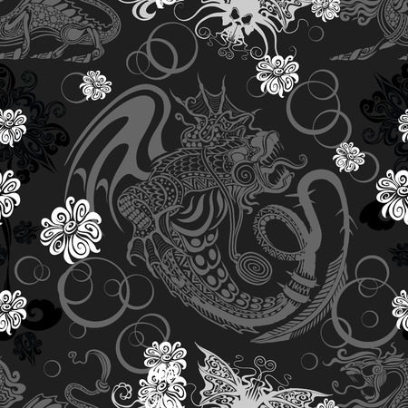 seamless background with a dragon and skulls Vector