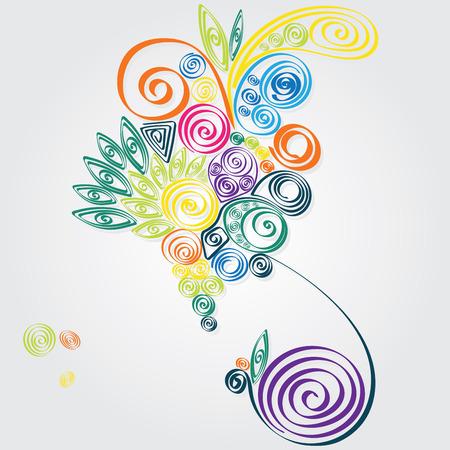 uprzejmości: Full colour spiral pattern that inspired by tropical Ilustracja