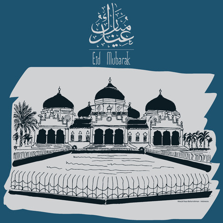 fitr: Greeting Cards  Postcards Design eid al fitr Illustration